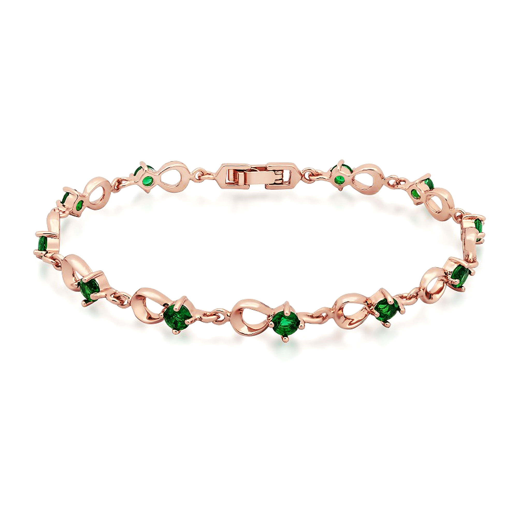 with rose gold zirconia emerald cubic plated gemnation product green bracelet