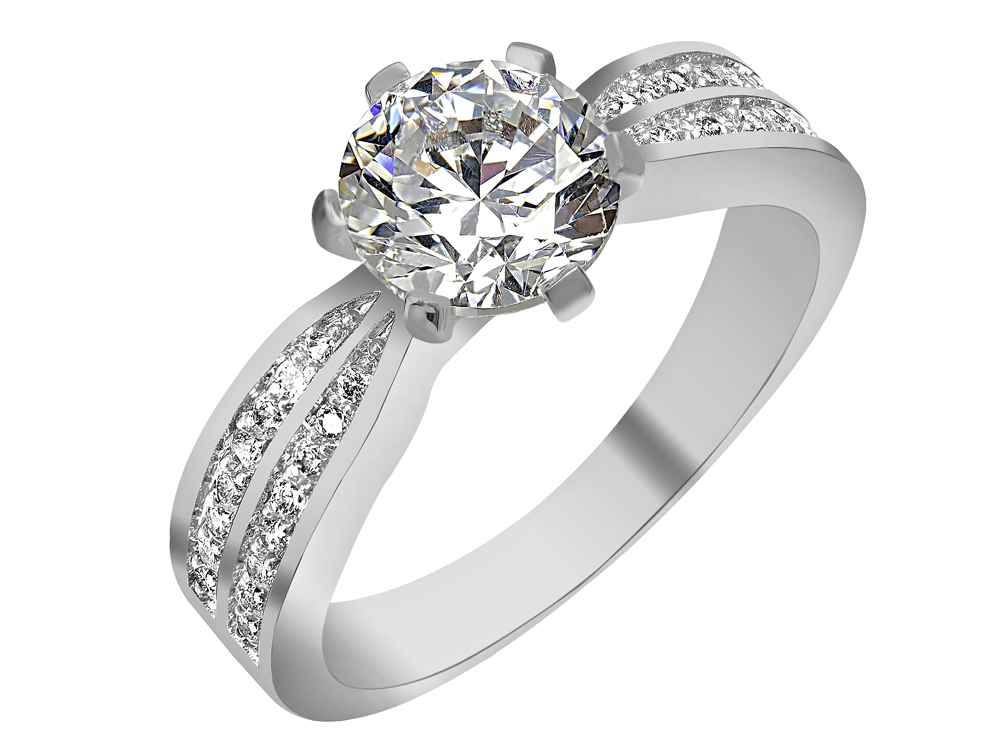 Silver Plated Solitaire Cubic Zirconia Ring Gemnation