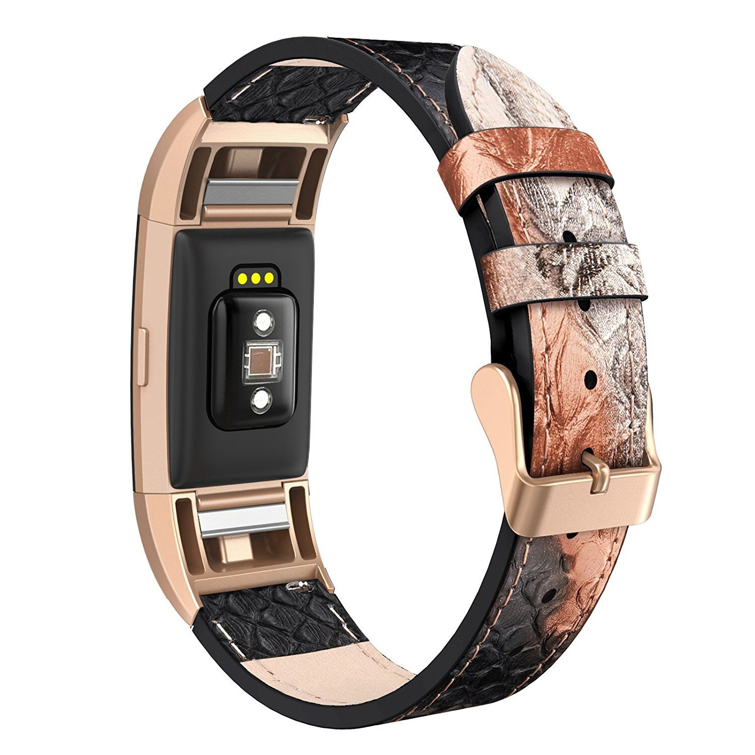 Fitbit Charge 2 Band Genuine Leather Snake Watch Strap