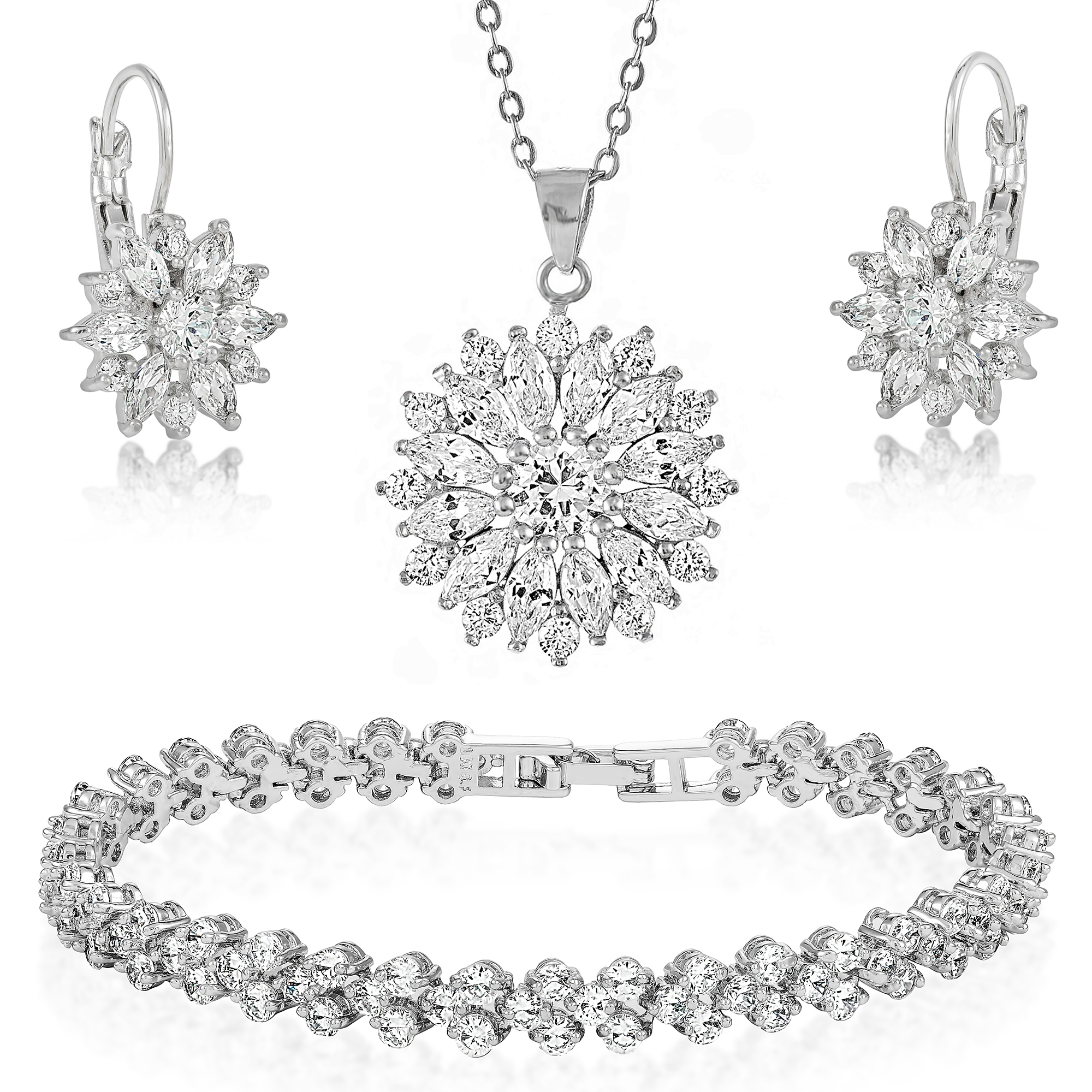 57c056cea6 Crystal Flower Pendant Earrings & Bracelet Set